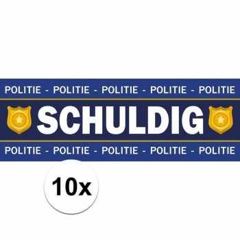 Foute 10 x schuldig stickers voor politie/agent party kleding