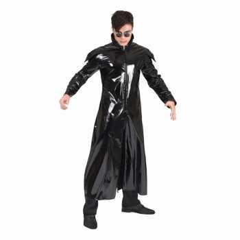 Foute 90s party kleding gothic lakleren jas voor volwassenen
