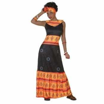 Foute afrikaanse jurk party kleding zwart/oranje voor dames