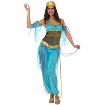 Foute arabische danseres party kleding blauw