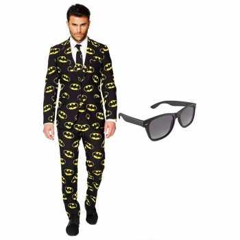 Foute batman heren party kleding maat 54 xxl met gratis zonnebril