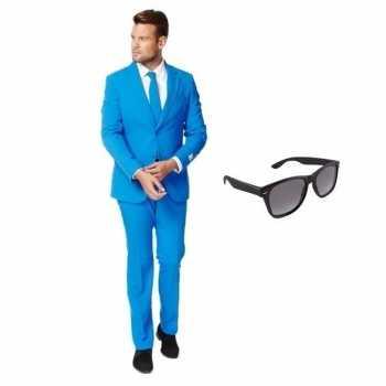 Foute blauw heren party kleding maat 50 (l) met gratis zonnebril