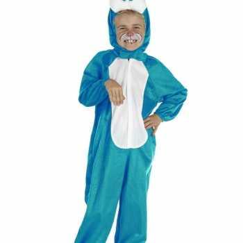 Foute blauw konijnen party kleding voor kinderen