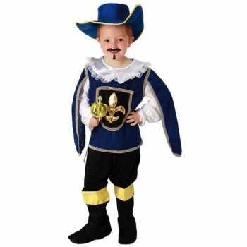 Foute blauw musketiers party kleding voor jongens
