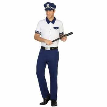 Foute blauw/wit politie pak/party kleding voor heren
