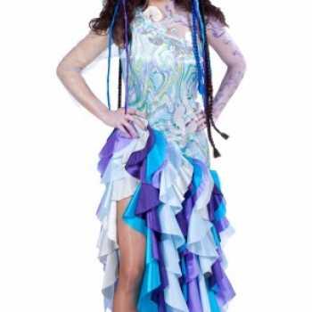 Foute blauwe prinses van de zee party kleding