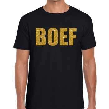 Foute boef glitter goud tekst t shirt zwart heren party