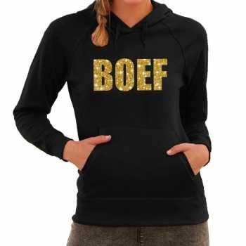 Foute boef goud glitter tekst hoodie zwart dames party