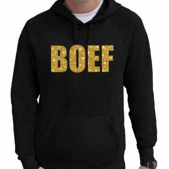 Foute boef goud glitter tekst hoodie zwart voor heren party