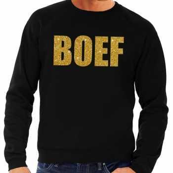 Foute boef gouden glitter tekst sweater zwart voor heren party