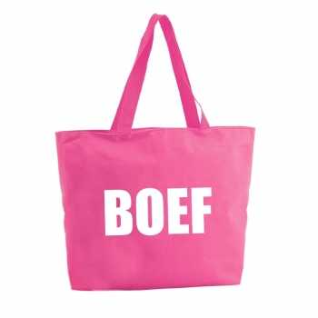 Foute boef shopper tas fuchsia roze 47 cm party