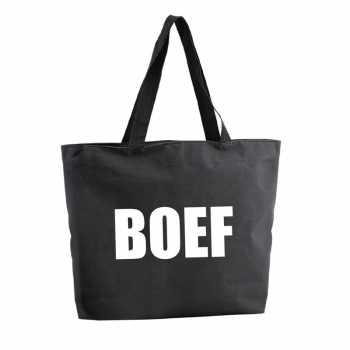 Foute boef shopper tas zwart 47 cm party