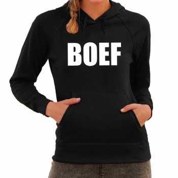 Foute boef tekst hoodie zwart dames party