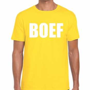 Foute boef tekst t shirt geel heren party