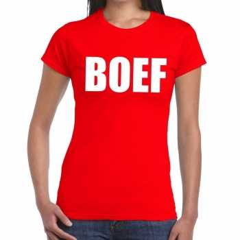 Foute boef tekst t shirt rood dames party