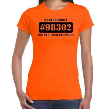 Foute boeven / gevangenen isolation cel shirt oranje dames party