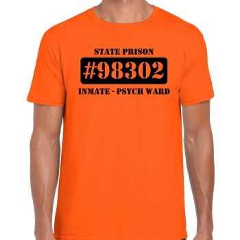Foute boeven / gevangenen psych ward shirt oranje heren party