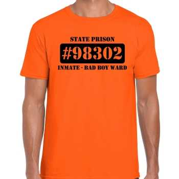 Foute boeven / gevangenen vrijgezellen shirt oranje bad boy ward voor heren party