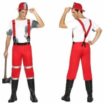 Foute brandweerman joe party kleding met bretels voor heren