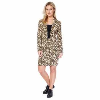 Foute bruin dames party kleding met luipaard print