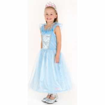 Foute carnaval party kleding prinses blauw meisjes