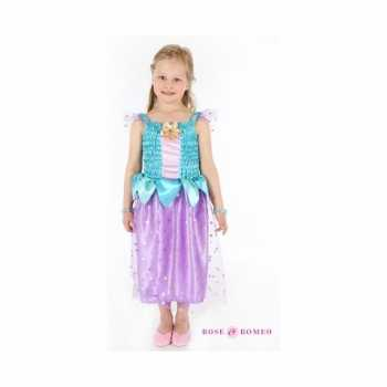 Foute carnaval party kleding prinses blauw/paars meisjes