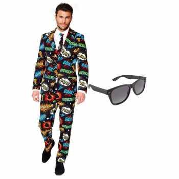 Foute comic print heren party kleding maat 56 (xxxl) met gratis zonne