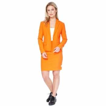 Foute compleet oranje dames party kleding