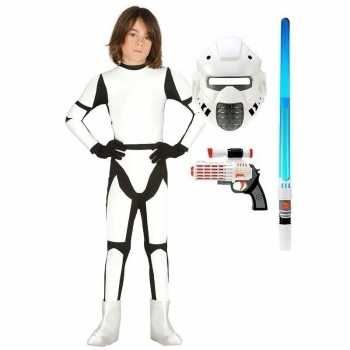 Foute compleet space trooper party kleding maat 140 152 voor kinderen