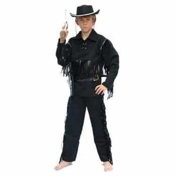 Foute cowboy party kleding zwart voor kinderen