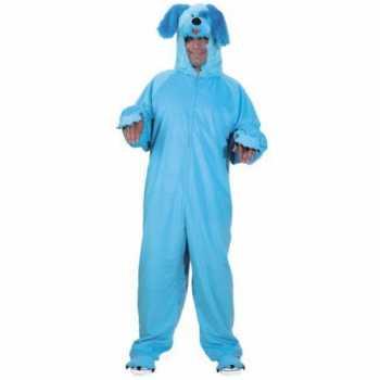 Foute dieren party kleding blauwe hond voor volwassenen