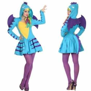 Foute dierenpak blauwe draak party kleding/jurk voor dames