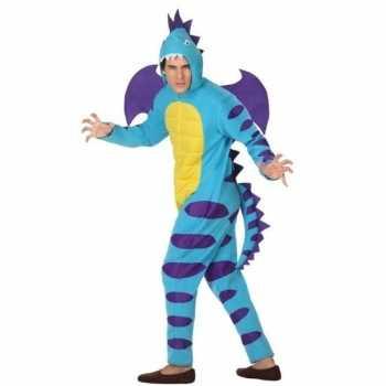 Foute dierenpak blauwe draak party kleding voor volwassenen