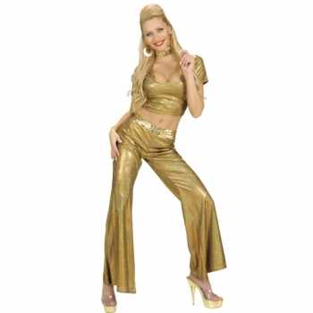 Foute disco broek goud dames party
