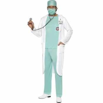 Foute dokter party kleding met jas voor heren