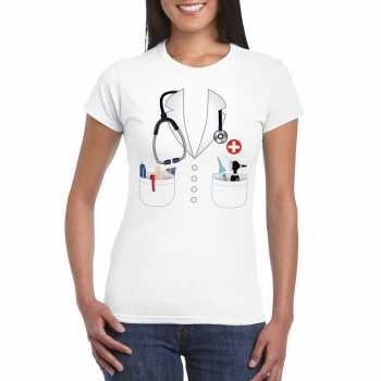 Foute doktersjas party kleding t shirt wit voor dames