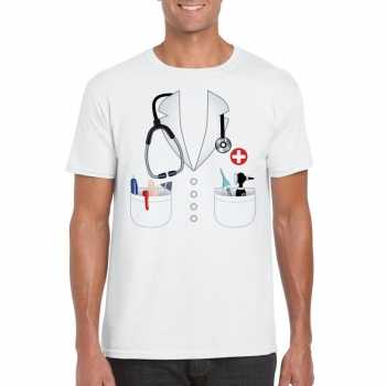 Foute doktersjas party kleding t shirt wit voor heren