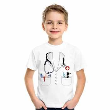 Foute doktersjas party kleding t shirt wit voor kinderen