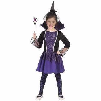 Foute dracula party kleding jurkje paars voor meisjes