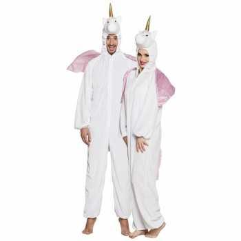 Foute eenhoorn dieren onesie/party kleding voor volwassenen wit