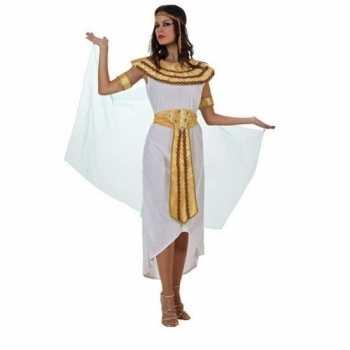 Foute egyptische farao cleopatra party kleding/jurk wit voor dames