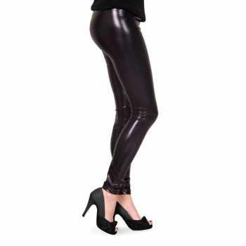 Foute feestartikelen glimmende zwarte dames legging party