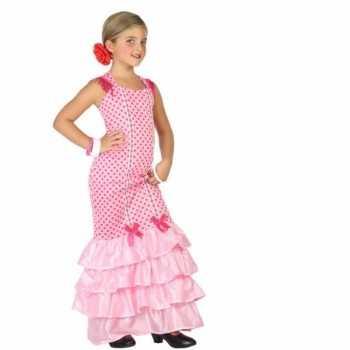 Foute flamenco danseres party kleding voor kinderen roze