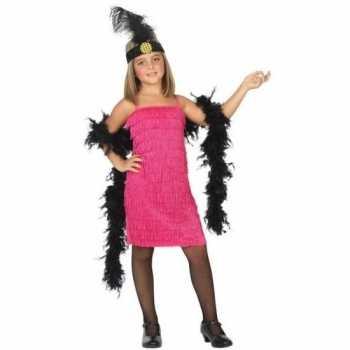 Foute flapper franje party kleding/jurkje roze voor meisjes