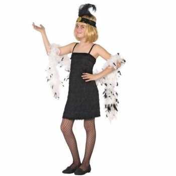 Foute flapper franje party kleding/jurkje zwart voor meisjes