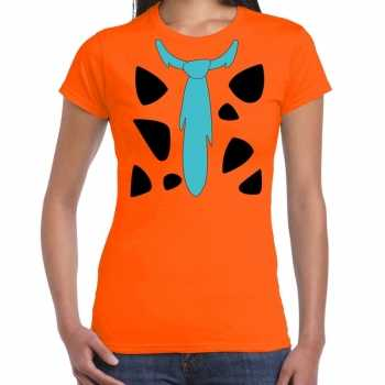 Foute fred holbewoner party kleding t shirt oranje voor dames