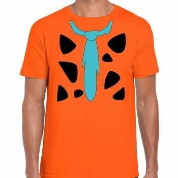 Foute fred holbewoner party kleding t shirt oranje voor heren