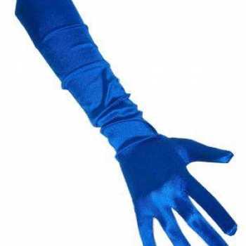 Foute gala handschoenen blauw 48 cm party