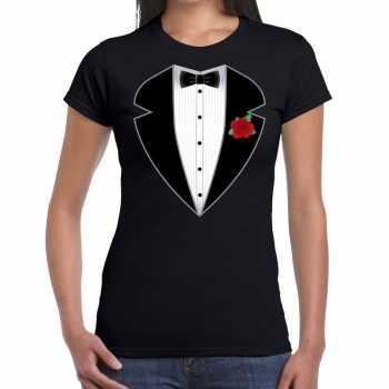 Foute gangster / maffia pak party kleding t shirt zwart voor dames