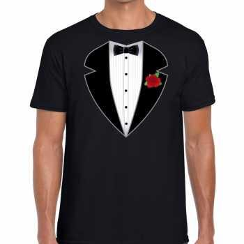Foute gangster / maffia pak party kleding t shirt zwart voor heren
